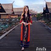 泰國民族風女裝夏裝波西米亞印花洋裝海邊海灘沙灘度假長裙女夏  麥琪精品屋