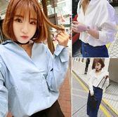 EASON SHOP(GU0905)V領寬鬆藍色白色長袖襯衫韓版長袖白襯衫女寬鬆外穿大翻領女上衣