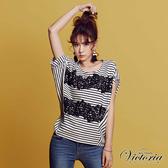 Victoria  刺繡蕾絲剪接寬鬆短袖T-女-V85446