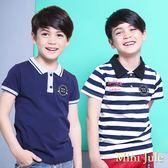 Mini Jule 男童 上衣 條紋字母印花徽章貼布/布標螺紋襯衫領短袖T恤(共2款) Azio Kids 美國派 童裝
