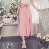 東京著衣【YOCO】法國女孩棉感排釦蝴蝶結綁帶長裙-S.M.L(172753)