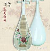 成人白琵琶青花瓷彩繪初學練習演奏民族彈撥女子樂坊器樂組合 DR25860【123休閒館】