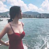 比基尼 泳衣 性感小胸鋼托聚攏保守遮肚顯瘦三角連體溫泉游泳衣女