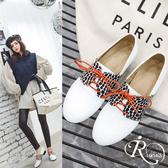 韓系時尚雜誌款漆皮豹紋綁帶方跟休閒鞋/2色/35-44碼 (RX0450-X99-5) iRurus 路絲時尚