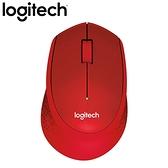 Logitech 羅技 M331 無線靜音滑鼠 紅【送幾何菱格紋鼠墊】