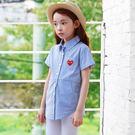夏裝新品童裝女童襯衫韓版中大童上衣條紋短...