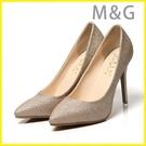 MG 金色高跟鞋閃粉金色高跟鞋尖頭中跟女...