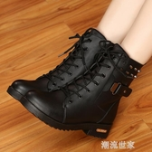 冬季馬丁靴英倫風雪地棉鞋加絨學生皮鞋短靴女鞋子短筒粗跟女靴子『潮流世家』