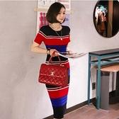 洋裝性感針織裙新款氣質中長款修身針織條紋包臀連身裙打底裙NE49-7390.一號公館