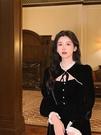 年會禮服 2021新款復古宮廷絲絨連衣裙蕾絲邊拼接優雅赫本風法式年會禮服【快速出貨八折搶購】