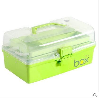 優然  三層醫藥箱急救箱塑料折疊工具箱大號家用-炫彩店(嫩綠色)
