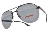 PRADA 偏光太陽眼鏡SPS52V 1BO-5Z1 (黑-藍鏡片) 半框造型飛行款 # 金橘眼鏡