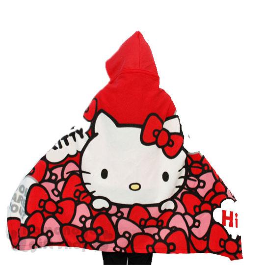 〔小禮堂〕Hello Kitty 連帽披肩毯《紅.大臉.蝴蝶結堆》毛毯.刷毛毯 4713909-23929