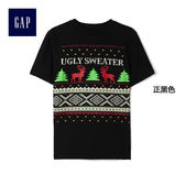 Gap男童 動感創意風格印花短袖T恤 183752-正黑色