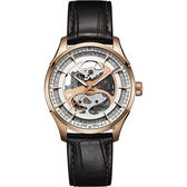 Hamilton 漢米爾頓 Jazzmaster 鏤空機械手錶-玫瑰金x咖啡/40mm H42545551