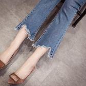 破洞牛仔褲女春秋新款韓版顯瘦不規則高腰緊身九分微喇叭褲子    韓小姐