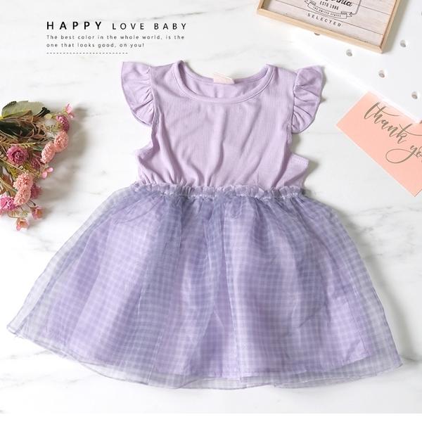 純棉 氣質紫格紋蓬蓬裙洋裝 春夏童裝 女童洋裝 女童長版 女童連身裙 女童傘裙
