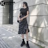 高腰格子半身裙秋抽繩褶皺不規則a字裙顯瘦一步包臀裙魚尾裙中長-米蘭街頭