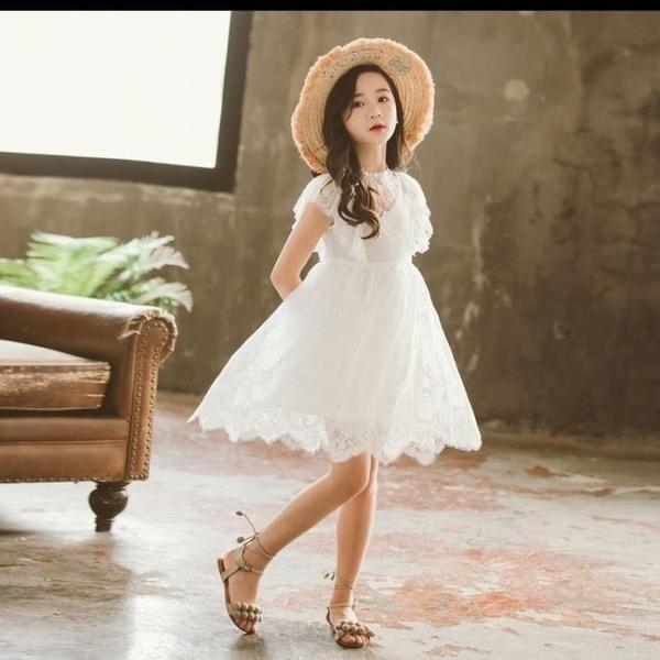 女童白色洋裝夏春秋季蕾絲裙子兒童公主裙新款女孩洋氣禮服 幸福第一站