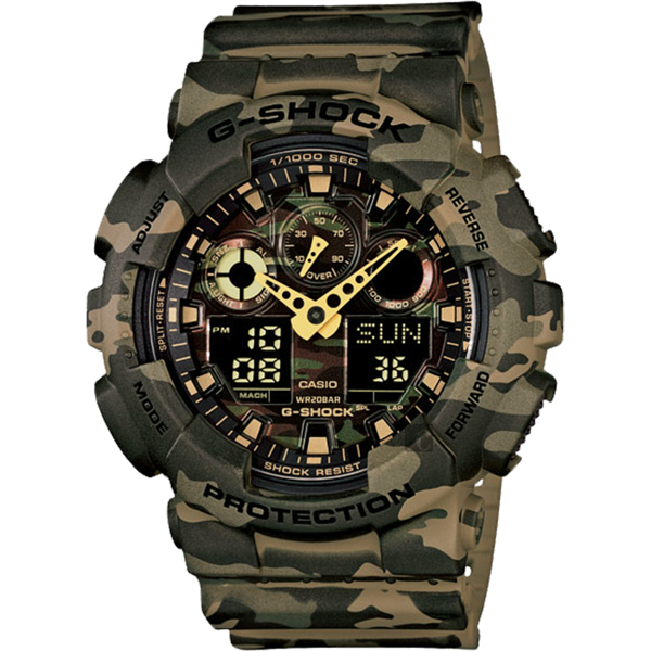 CASIO 卡西歐 G-SHOCK 迷彩雙顯手錶-卡其 GA-100CM-5A/GA-100CM-5ADR 比漾廣場