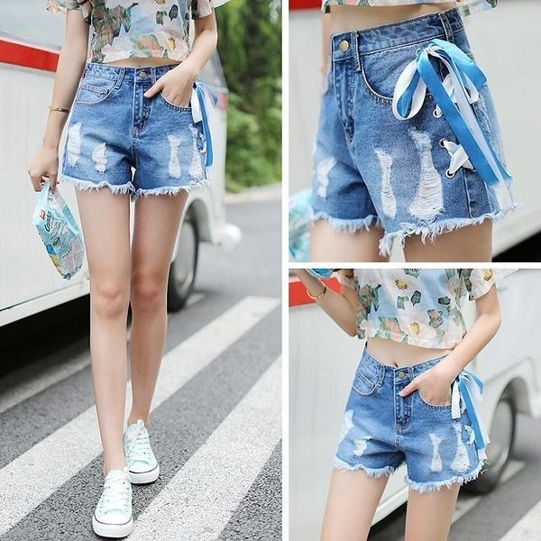 FINDSENSE H1 2018 夏季 韓國 時尚 牛仔褲 破洞 毛須邊 絲帶