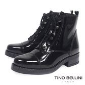 Tino Bellini義大利進口酷勁牛漆皮綁帶軍靴_ 黑 B69005 歐洲進口款