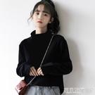 長袖T恤 2021秋冬新款黑色高領打底衫女寬鬆百搭純棉內搭上衣學生長袖T恤寶貝計畫 上新
