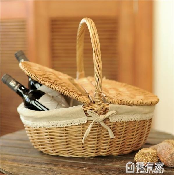 ins柳編藤編編織手提籃禮品籃面包購物籃采摘籃竹籃戶外野餐籃子