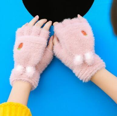 兒童手套 女冬天可愛學生寫字露指半截男冬季保暖加絨翻蓋兒童半指騎行【快速出貨八折優惠】