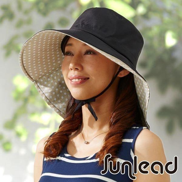 【南紡購物中心】Sunlead 防吹落寬緣款。雙色護頸透氣抗UV寬圓頂防曬遮陽帽 (黑色/淺褐)