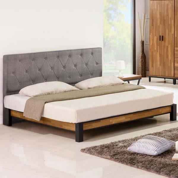 【J-style】美式工業風雙人5尺床架組(床頭片款/不含床墊)-原木色