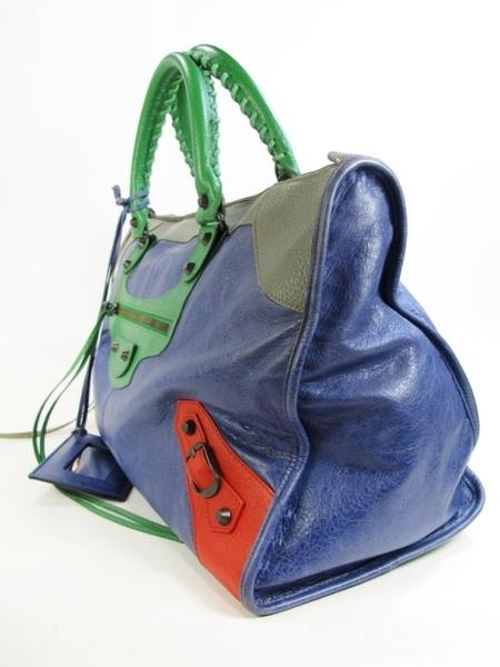 【巴黎站二手名牌專賣店】*現貨*Balenciaga 巴黎世家 真品*Work 黑釦肩手提/機車包(紅X藍X綠X灰)