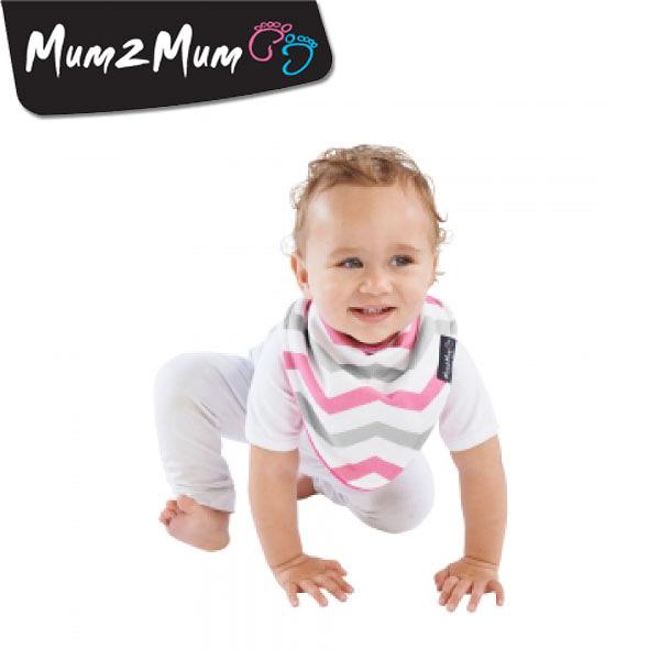 紐西蘭 MUM 2 MUM 雙面時尚造型口水巾圍兜 條紋桃紅
