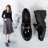 新款女鞋子春季英倫風百搭韓版學生布洛克小皮鞋女chic單鞋 全店免運