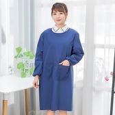 618好康鉅惠 簡約純色帶袖子圍裙成人女士防水防油圍裙