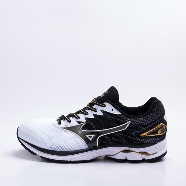 Mizuno 暢銷鞋款第20代 WAVE RIDER 20 SW 超寬楦 男慢跑鞋-黑/白 J1GC170414