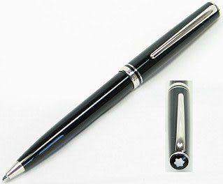MONTBLANC 領航系列黑桿白金夾原子筆*13426