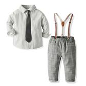 英倫紳士領帶格子吊帶褲套裝 童裝 花童服裝 兒童西裝 褲子 襯衫