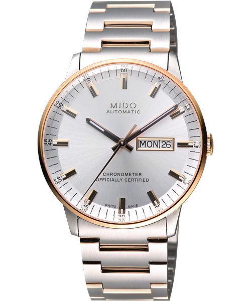 MIDO 美度 Commander 香榭系列天文台機械手錶-銀x玫瑰金框/40mm M0214312203100