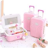 首飾盒 拉桿行李旅行箱公主旋轉音樂盒化妝鏡首飾品收納盒八音盒雙十一