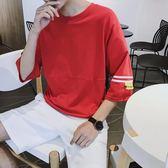 2019男士短袖T恤圓領潮韓版寬鬆半袖衣服五分中袖日系七分袖t桖男『潮流世家』