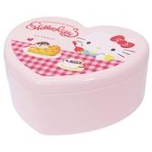 〔小禮堂〕Hello Kitty 愛心 塑膠掀蓋收納盒附鏡《紅粉下午茶》飾品盒珠寶盒4930972 48200