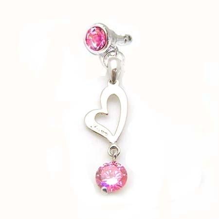 Love 心粉紅鋯石水鑽防塵塞吊飾