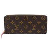 Louis Vuitton LV M61298 Clemence 經典花紋拉鍊長夾.粉 全新 現貨【茱麗葉精品】