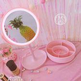 粉色少女心觸摸屏LED補光化妝鏡臺式公主多功能梳妝鏡收納首飾盒「夢娜麗莎精品館」