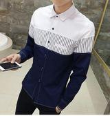 【現貨22】男士長袖襯衫 韓版拼接條紋排扣衣服立領襯衫 L~白色