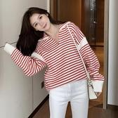 促銷九五折 Q7680-秋季新款女裝翻領溫柔風甜美條紋寬松長袖針織衫 0909
