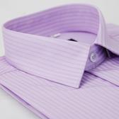 【金‧安德森】紫色寬暗紋窄版短袖襯衫