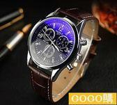 韓版男士運動時尚休閒皮帶潮流機械石英錶gogo購