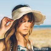 邪惡先生韓版棉麻大沿空頂帽子女夏天遮陽帽純色沙灘帽戶外太陽帽